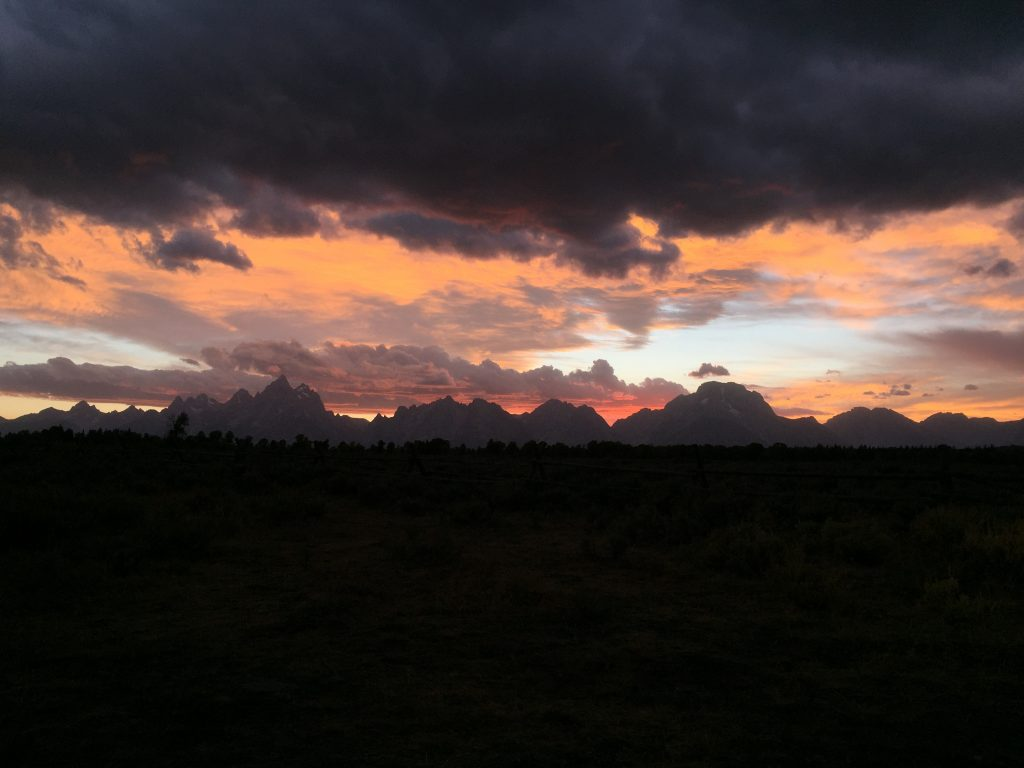Sonnenuntergang beim Grand Teton Nationalpark